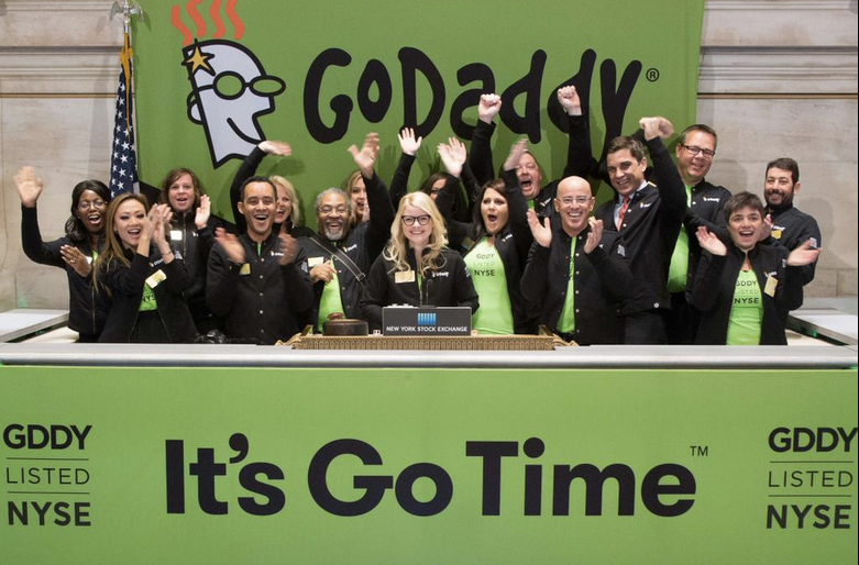 Ringing the bell at the NYSE for Godaddy