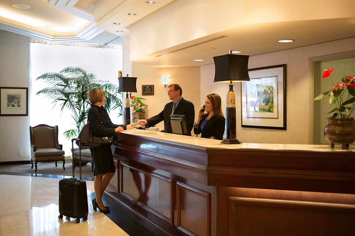 Check-in desk at Hotel Du Fort in Montreal