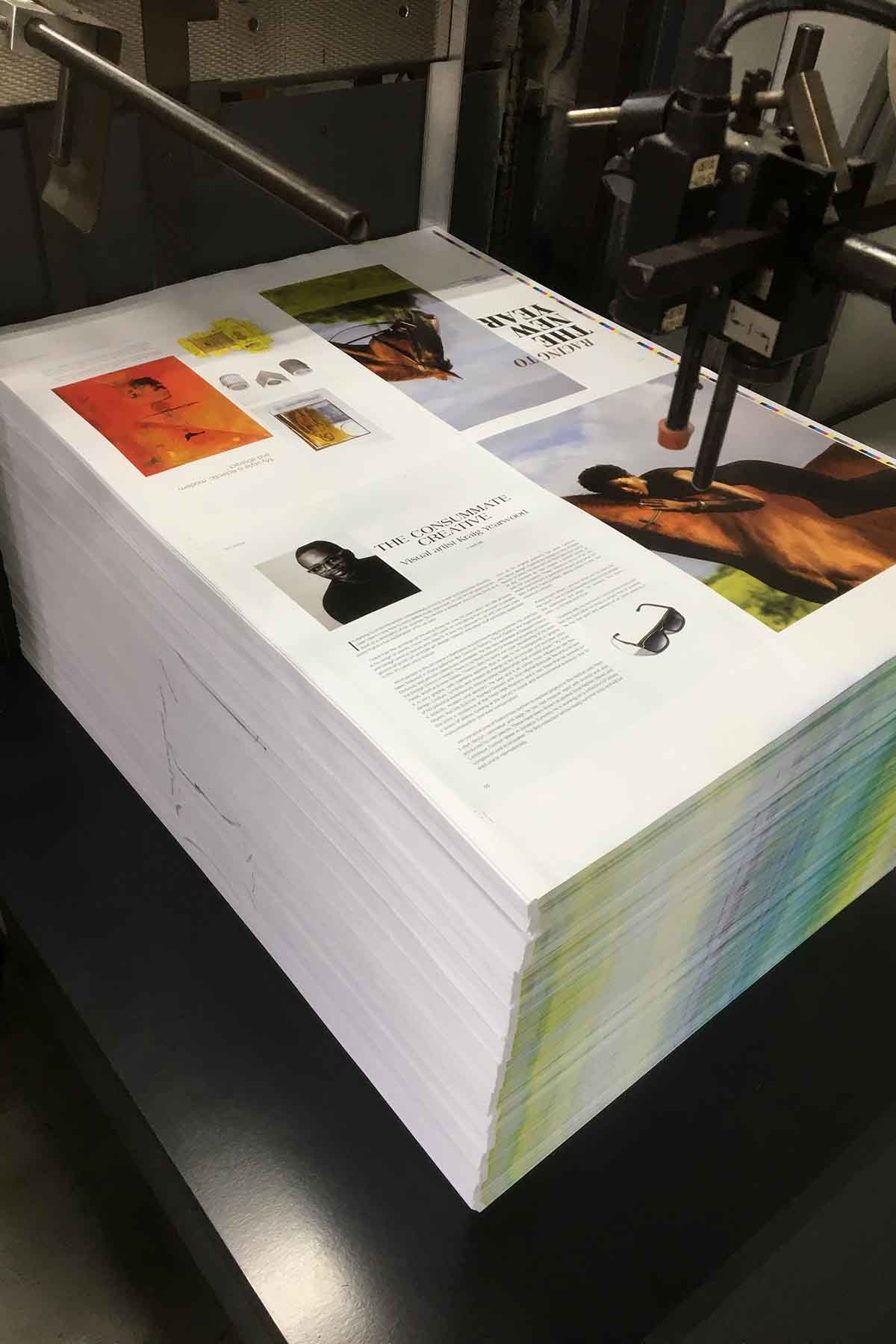 Living Barbados magazine at the printer