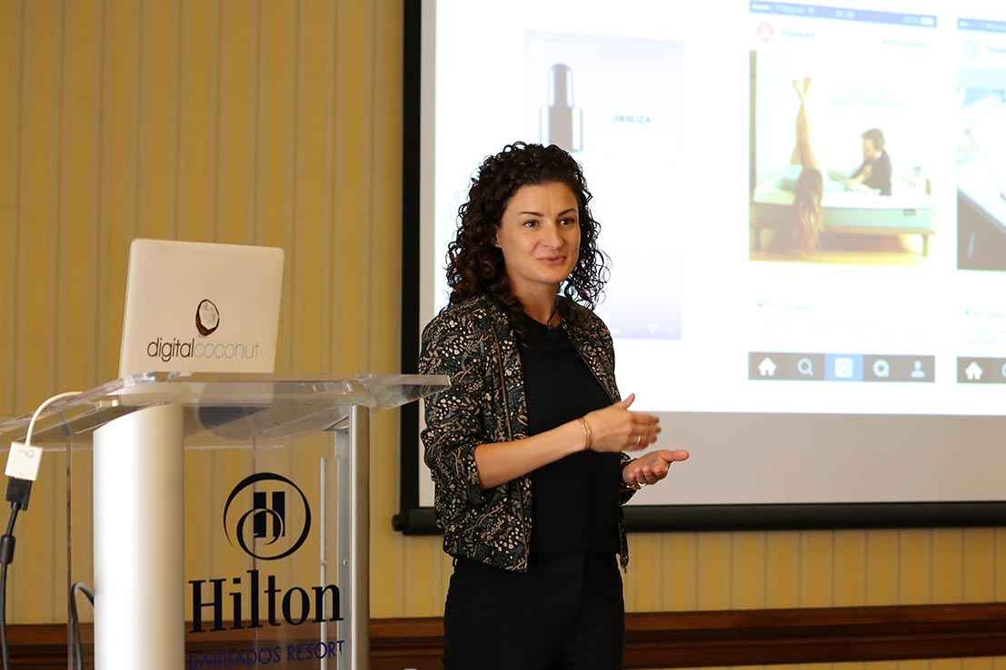 Andrea Lown delivering the keynote presentation at a seminar on digital marketing hosted by Barbados Today.